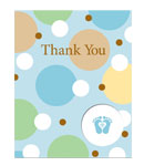 Tiny Toes Blue Thank You Cards