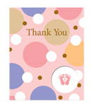 Tiny Toes Pink Thank You Cards
