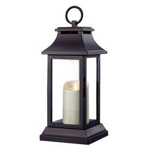 15 Inch Lantern with Outdoor Luminara Candle and Timer - Black