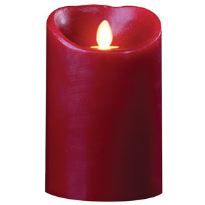 3.5x5 Inch Luminara Candle with Timer - Burgundy