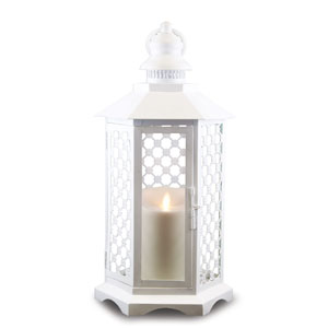 16 Inch Lattice Lantern with Luminara Candle and Timer - White