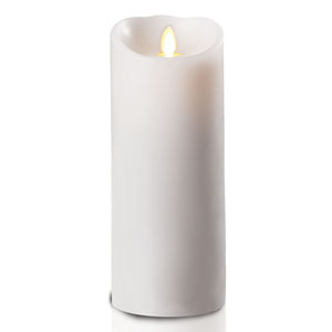 4x9 Inch Luminara Candle with Timer - White