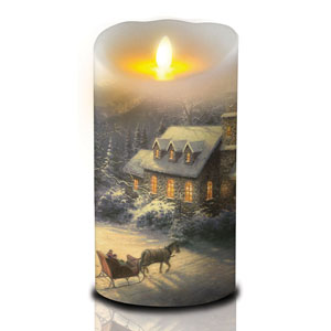7 Inch Thomas Kinkade Luminara Candle - Sleigh Ride