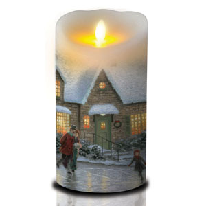 7 Inch Thomas Kinkade Luminara Candle - Skating Pond