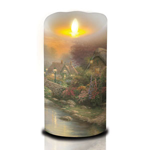7 Inch Thomas Kinkade Luminara Candle - Lamplight Bridge