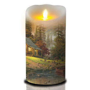 7 Inch Thomas Kinkade Luminara Candle - Peaceful Retreat