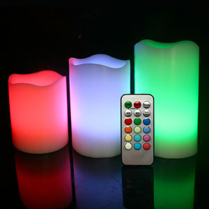 4-5-6 Inch Variety Pack Flameless Remote Control Pillar Candles - Curved Edge - Multicolor