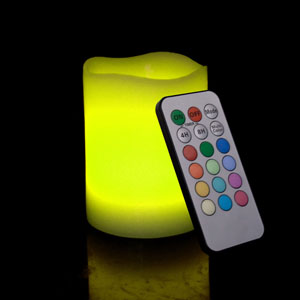 4 Inch Flameless Remote Control Pillar Candle - Curved Edge - Multicolor