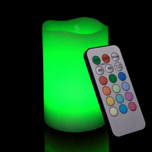 5 Inch Flameless Remote Control Pillar Candle - Curved Edge - Multicolor
