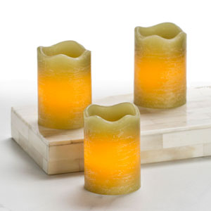 2.5 Inch Flameless Rustic Votive Candle - Green with Citrus Sage Scent - 3 Pack
