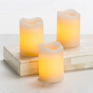 2.5 Inch Flameless Rustic Votive Candle - Cream with Vanilla Scent - 3 Pack