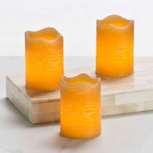 2.5 Inch Flameless Rustic Votive Candle - Amber with Cinnamon Chai Scent - 3 Pack