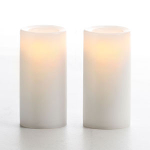 3 Inch Flameless Wax Finish Votive Candle - White Unscented - 2 Pack