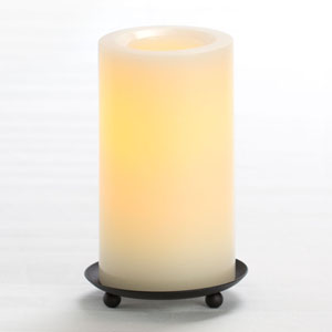 6 Inch Flameless Supreme Quality Pillar Candle with Timer - Cream with Vanilla Scent