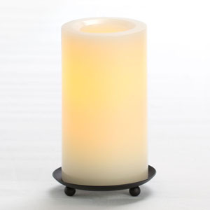 6 Inch Flameless Supreme Quality Pillar Candle with Timer - Cream Unscented
