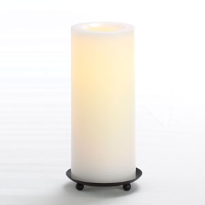 8 Inch Flameless Supreme Quality Pillar Candle with Timer - White with Vanilla Scent