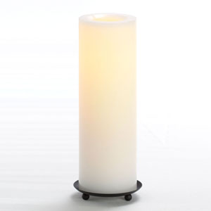 10 Inch Flameless Supreme Quality Pillar Candle with Timer - White with Vanilla Scent