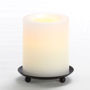 4 Inch Flameless Supreme Quality Pillar Candle with Timer - White with Vanilla Scent
