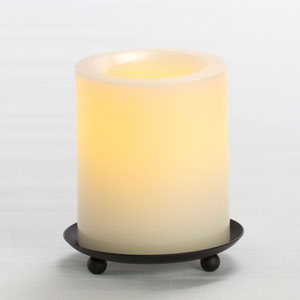 4 Inch Flameless Supreme Quality Pillar Candle with Timer - Cream Unscented