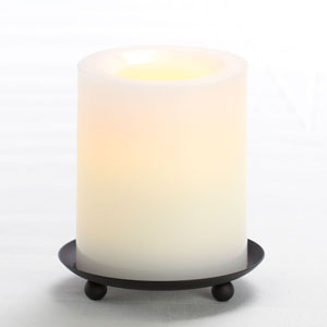 4 Inch Flameless Supreme Quality Pillar Candle with Timer - White Unscented