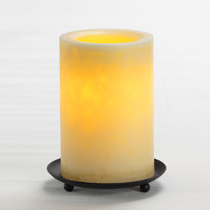 6 Inch Flameless Mottled Finish Pillar Candle with Timer - Cream Unscented