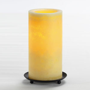 8 Inch Flameless Mottled Finish Pillar Candle with Timer - Cream Unscented