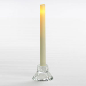9 Inch Flameless Wax Finish Taper Candles - Cream - 2 Pack