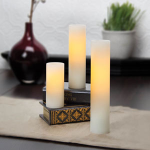 4-6-8 Inch Variety Pack Flameless Slim Pillar Candles with Timer - Cream Unscented