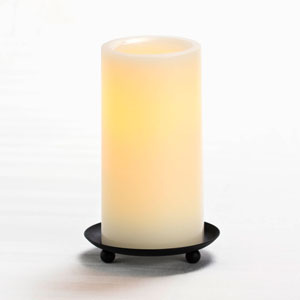 6 Inch Flameless Pillar Candle with Timer - Cream with Vanilla Scent