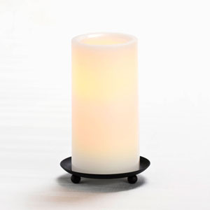 6 Inch Flameless Pillar Candle with Timer - White with Vanilla Scent