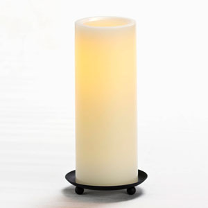 8 Inch Flameless Pillar Candle with Timer - Cream with Vanilla Scent