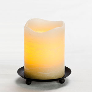 4 Inch Flameless Rustic Pillar Candle with Programmable Timer - Cream with Vanilla Scent
