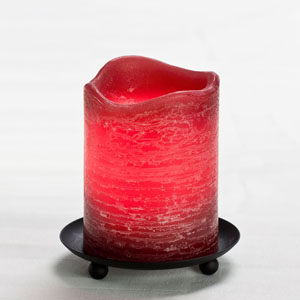 4 Inch Flameless Rustic Pillar Candle with Programmable Timer - Burgundy with Pomegranate Scent