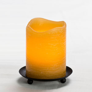 4 Inch Flameless Rustic Pillar Candle with Programmable Timer - Amber with Cinnamon Chai Scent