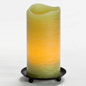 6 Inch Flameless Rustic Pillar Candle with Programmable Timer - Green with Citrus Sage Scent