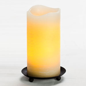 6 Inch Flameless Rustic Pillar Candle with Programmable Timer - Cream with Vanilla Scent