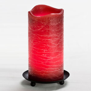 6 Inch Flameless Rustic Pillar Candle with Programmable Timer - Burgundy with Pomegranate Scent