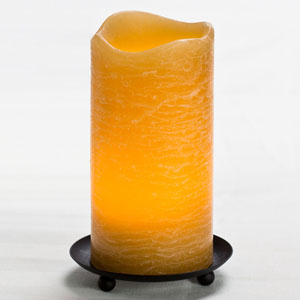 6 Inch Flameless Rustic Pillar Candle with Programmable Timer - Amber with Cinnamon Chai Scent