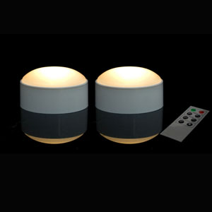 3 Inch Flamless Remote Control Pumpkin Lights - 2 Pack