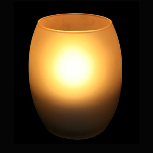 4 Inch Flameless Remote Control Hurricane Candle with Frosted Glass Holder - Yellow