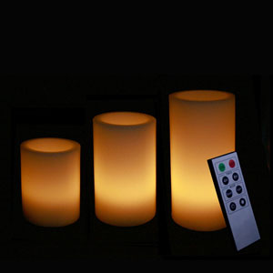 4-5-6 Inch Variety Pack Flameless Remote Control Pillar Candles - Smooth Edge - Yellow