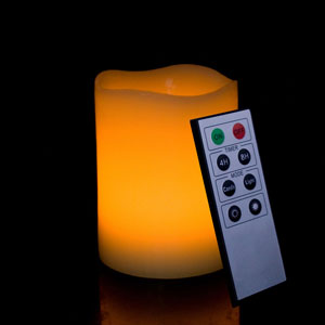 4 Inch Flameless Remote Control Pillar Candle - Curved Edge - Yellow