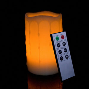 5 Inch Flameless Remote Control Pillar Candle - Melted Edge - Yellow