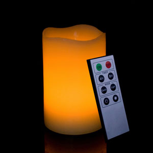 5 Inch Flameless Remote Control Pillar Candle - Curved Edge - Yellow