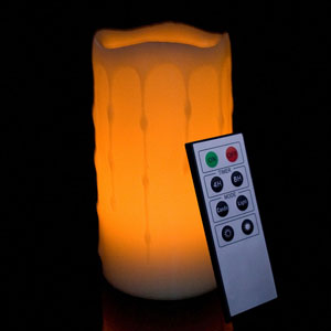 6 Inch Flameless Remote Control Pillar Candle - Melted Edge - Yellow