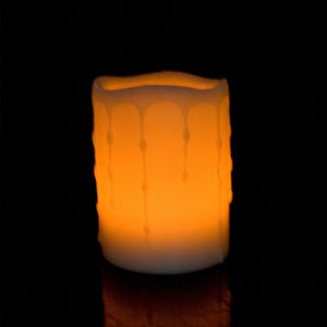 4 Inch Flameless Pillar Candle with Timer - Melted Edge - Yellow