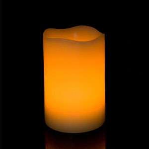 5 Inch Flameless Pillar Candle with Timer - Curved Edge - Yellow