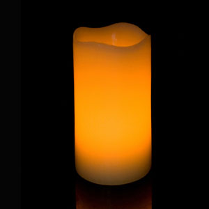 6 Inch Flameless Pillar Candle with Timer - Curved Edge - Yellow