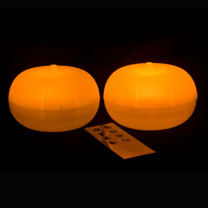 4 Inch Flameless Remote Control Pumpkin Lights - 2 Pack