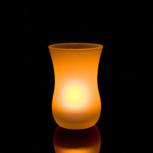 3 Inch Flameless Blow On-Off Gourd Candle with Frosted Glass Holder - Yellow